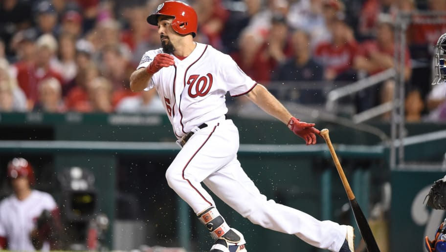 WASHINGTON, DC - SEPTEMBER 20:  Anthony Rendon #6 of the Washington Nationals takes a swing during a baseball game against the New York Mets at Nationals Park on September 20, 2018 in Washington, DC.  (Photo by Mitchell Layton/Getty Images)