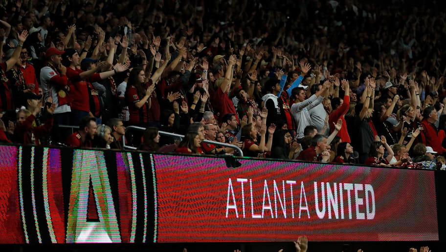 ATLANTA, GA - NOVEMBER 25:  Fans cheer during the MLS Eastern Conference Finals between Atlanta United and the New York Red Bulls at Mercedes-Benz Stadium on November 25, 2018 in Atlanta, Georgia.  (Photo by Kevin C. Cox/Getty Images)