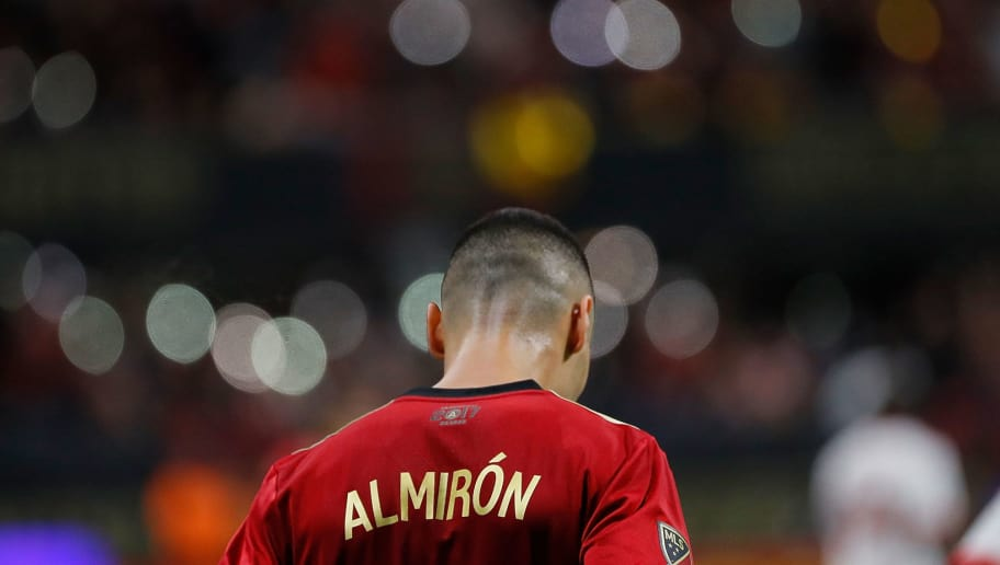 ATLANTA, GA - NOVEMBER 25:  Miguel Almiron #10 of Atlanta United walks down the pitch against the New York Red Bulls during the MLS Eastern Conference Finals between Atlanta United and the New York Red Bulls at Mercedes-Benz Stadium on November 25, 2018 in Atlanta, Georgia.  (Photo by Kevin C. Cox/Getty Images)