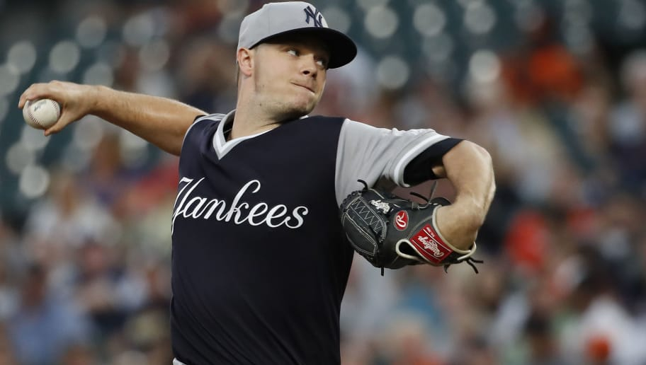 BALTIMORE, MD - AUGUST 25: Starting pitcher Sonny Gray #55 of the New York Yankees pitches in the second inning against the Baltimore Orioles during game two of a doubleheader at Oriole Park at Camden Yards on August 25, 2018 in Baltimore, Maryland.  (Photo by Patrick McDermott/Getty Images)