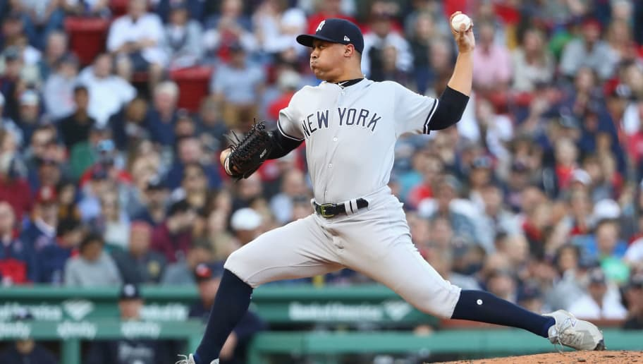 BOSTON, MA - SEPTEMBER 30:  Justus Sheffield #61 of the New York Yankees pitches in the bottom of the fourth inning of the game against the Boston Red Sox at Fenway Park on September 30, 2018 in Boston, Massachusetts.  (Photo by Omar Rawlings/Getty Images)