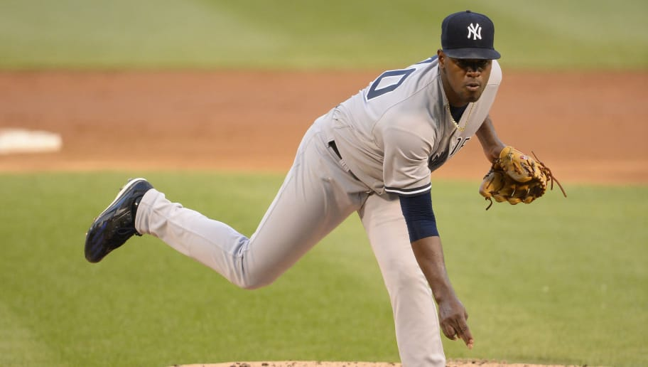 CHICAGO - AUGUST 08:  Luis Severino #40 of the New York Yankees pitches against the Chicago White Sox on August 8, 2018 at Guaranteed Rate Field in Chicago, Illinois.  (Photo by Ron Vesely/MLB Photos via Getty Images)