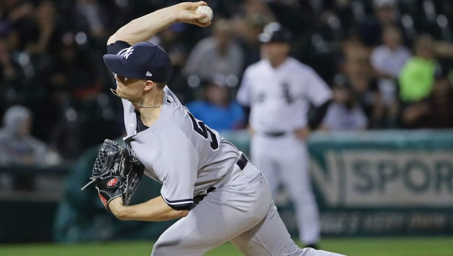 CHICAGO, IL - AUGUST 07:  Sonny Gray #55 of the New York Yankees pitches in the 13th inning against the Chicago White Sox at Guaranteed Rate Field on August 7, 2018 in Chicago, Illinois. The Yankees defeated the White Sox 4-3 in 13 innings.  (Photo by Jonathan Daniel/Getty Images)