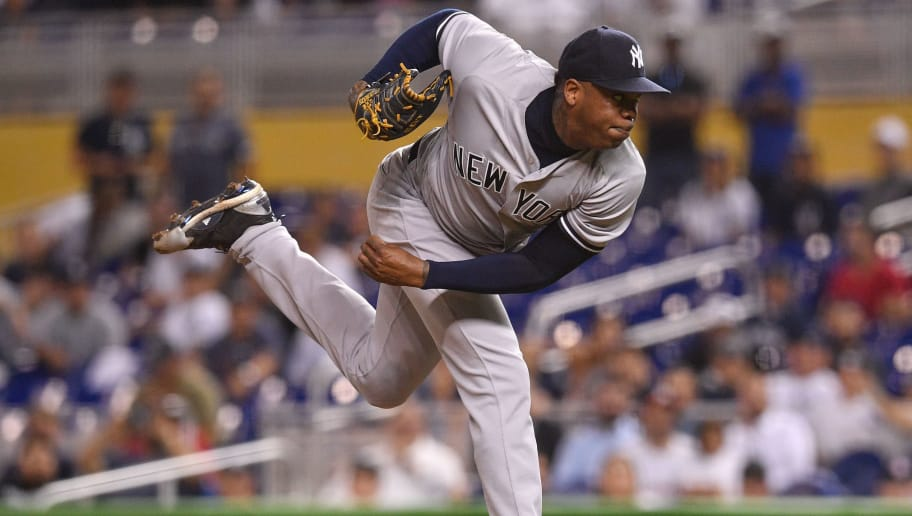 MIAMI, FL - AUGUST 21:  Aroldis Chapman #54 of the New York Yankees throws a pitch in the twelfth inning against the Miami Marlins at Marlins Park on August 21, 2018 in Miami, Florida. (Photo by Mark Brown/Getty Images)