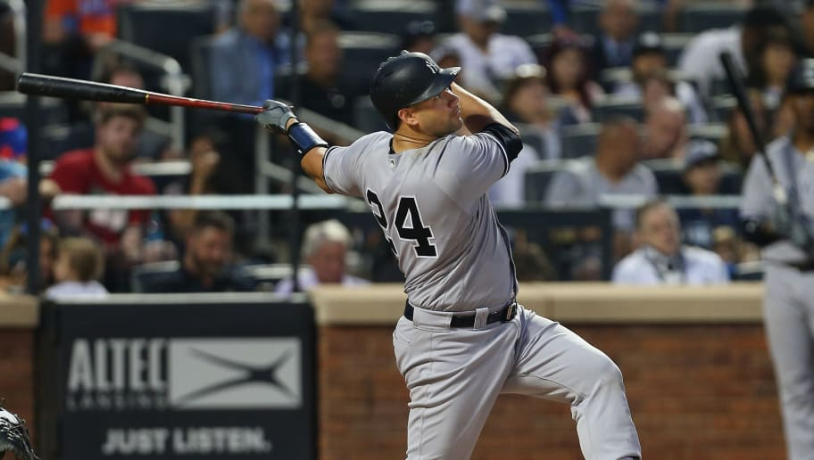 NEW YORK, NY - JUNE 09: Gary Sanchez #24 of the New York Yankees in action against the New York Mets during a game at Citi Field on June 9, 2018 in the Flushing neighborhood of the Queens borough of New York City. (Photo by Rich Schultz/Getty Images)
