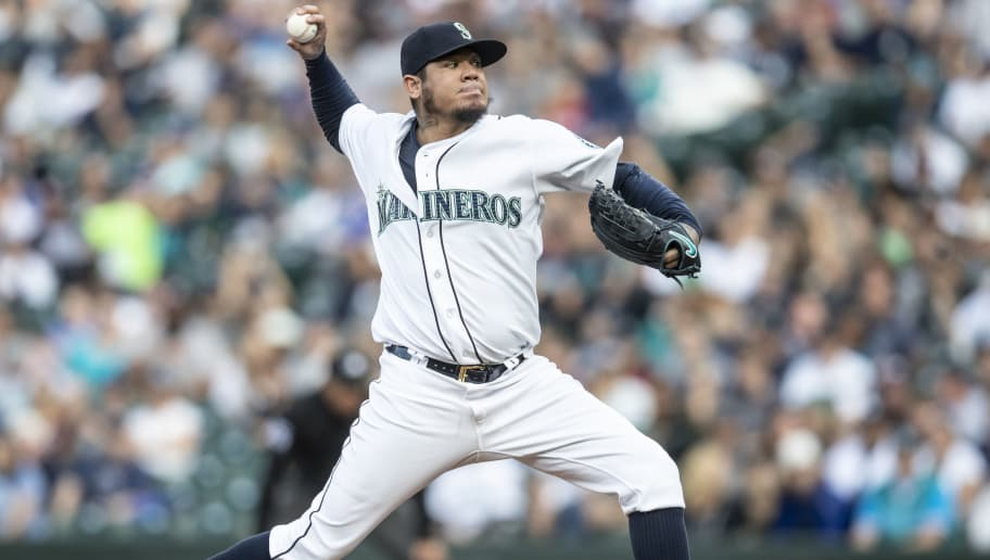 SEATTLE, WA - SEPTEMBER 8: Starter Felix Hernandez #34 of the Seattle Mariners delivers a pitch during a game against the New York Yankees at Safeco Field on September 8, 2018 in Seattle, Washington. The Yankees won 4-2. (Photo by Stephen Brashear/Getty Images)