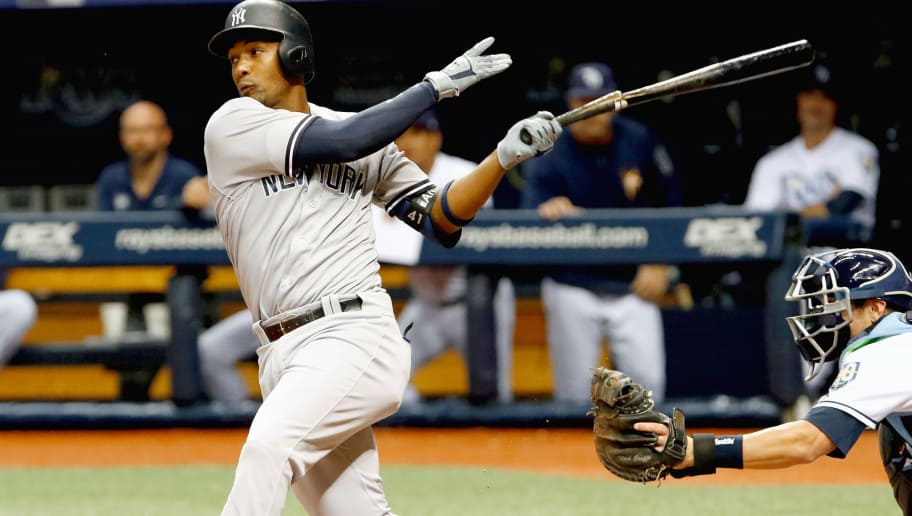 TAMPA, FL  SEPTEMBER 22: Miguel Andujar #41 of the New York Yankees follows through on his swing after breaking his bat during the second inning of the game against the Tampa Bay Rays at Tropicana Field on September 24, 2018 in St. Petersburg, Florida. (Photo by Joseph Garnett Jr./Getty Images)