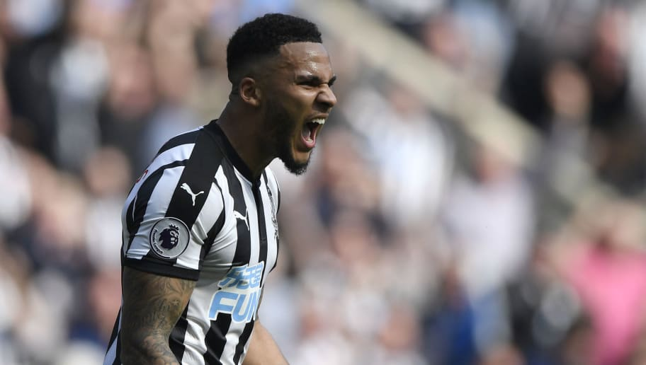 NEWCASTLE UPON TYNE, ENGLAND - APRIL 15:  Jamaal Lascelles of Newcastle United celebrates victory after the Premier League match between Newcastle United and Arsenal at St. James Park on April 15, 2018 in Newcastle upon Tyne, England.  (Photo by Stu Forster/Getty Images)