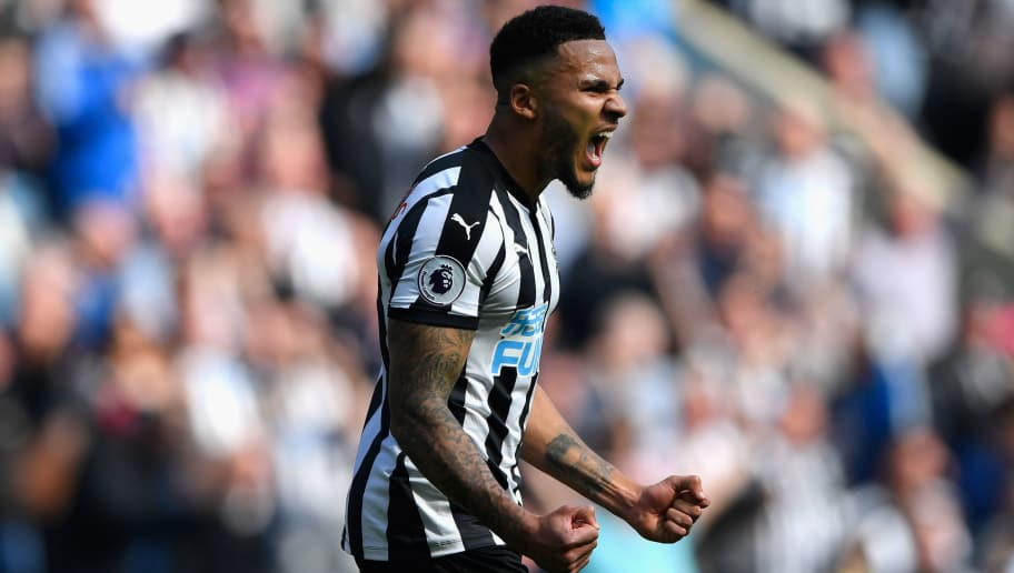 NEWCASTLE UPON TYNE, ENGLAND - APRIL 15:  Newcastle captain Jamaal Lascelles celebrates victory  during the Premier League match between Newcastle United and Arsenal at St. James Park on April 15, 2018 in Newcastle upon Tyne, England.  (Photo by Stu Forster/Getty Images)