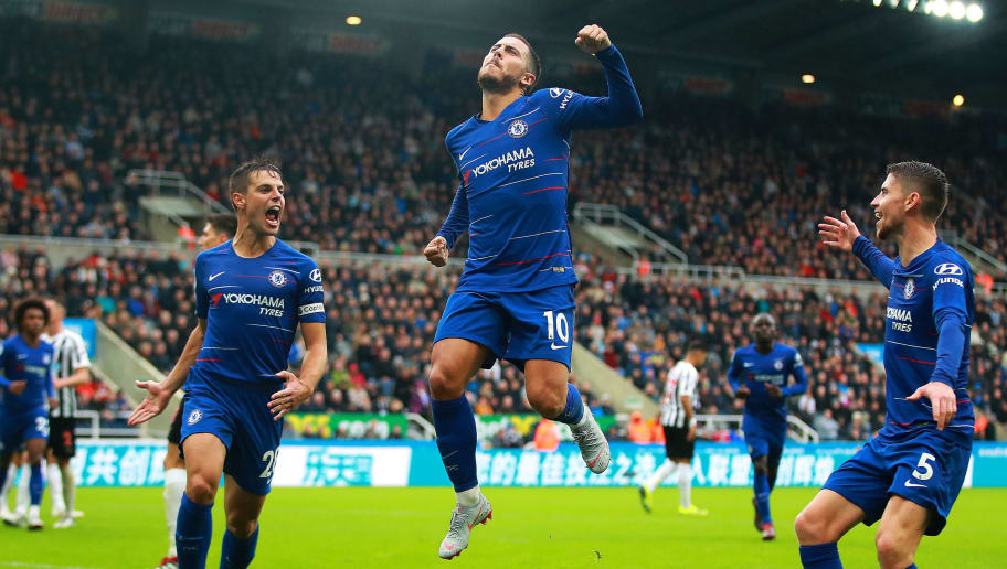 NEWCASTLE UPON TYNE, ENGLAND - AUGUST 26: Eden Hazard of Chelsea celebrates scoring the opening goal during the Premier League match between Newcastle United and Chelsea FC at St. James Park on August 26, 2018 in Newcastle upon Tyne, United Kingdom. (Photo by Chris Brunskill/Fantasista/Getty Images)