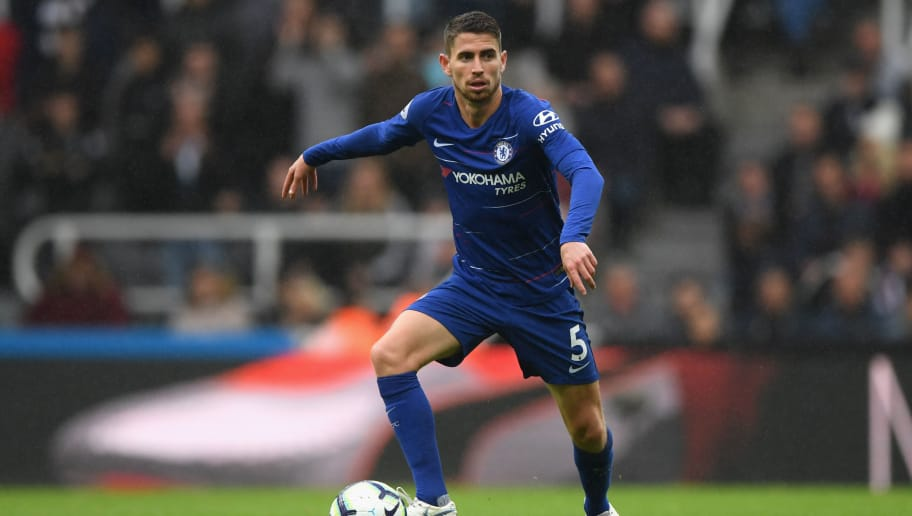 NEWCASTLE UPON TYNE, ENGLAND - AUGUST 26:  Chelsea player Jorginho in action during the Premier League match between Newcastle United and Chelsea FC at St. James Park on August 26, 2018 in Newcastle upon Tyne, United Kingdom.  (Photo by Stu Forster/Getty Images)