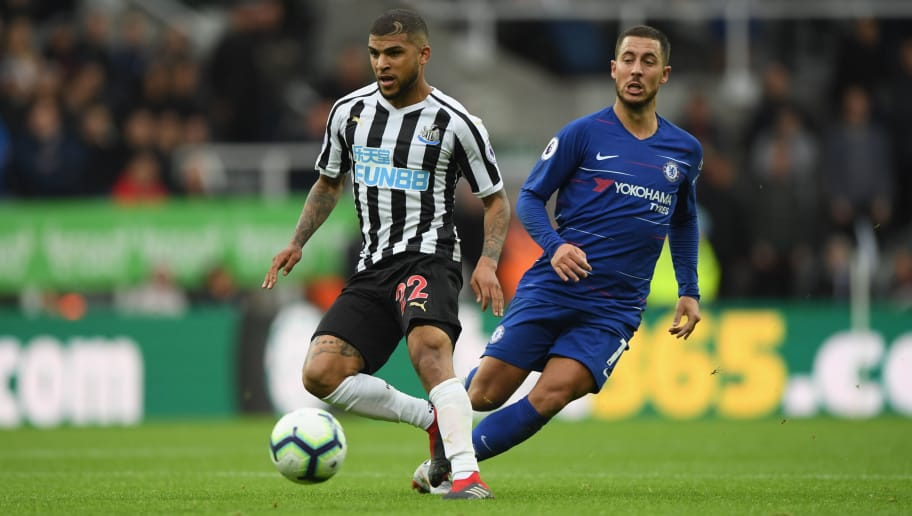 NEWCASTLE UPON TYNE, ENGLAND - AUGUST 26:  Chelsea player Eden Hazard and Newcastle player DeAndre Yedlin in action during the Premier League match between Newcastle United and Chelsea FC at St. James Park on August 26, 2018 in Newcastle upon Tyne, United Kingdom.  (Photo by Stu Forster/Getty Images)