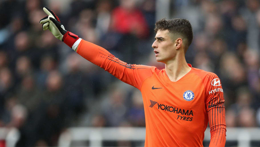 NEWCASTLE UPON TYNE, ENGLAND - AUGUST 26: Kepa Arrizabalaga of Chelsea during the Premier League match between Newcastle United and Chelsea FC at St. James Park on August 26, 2018 in Newcastle upon Tyne, United Kingdom. (Photo by Matthew Ashton - AMA/Getty Images)