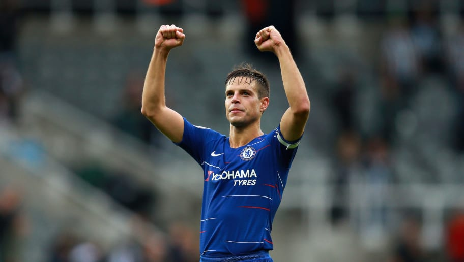 NEWCASTLE UPON TYNE, ENGLAND - AUGUST 26:  Cesar Azpilicueta of Chelsea celebrates after the Premier League match between Newcastle United and Chelsea FC at St. James Park on August 26, 2018 in Newcastle upon Tyne, United Kingdom.  (Photo by Chris Brunskill/Fantasista/Getty Images)