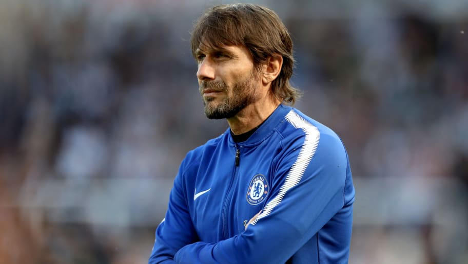 NEWCASTLE UPON TYNE, ENGLAND - MAY 13: Antonio Conte, Manager of Chelsea looks on during the Premier League match between Newcastle United and Chelsea at St. James Park on May 13, 2018 in Newcastle upon Tyne, England.  (Photo by Ian MacNicol/Getty Images)
