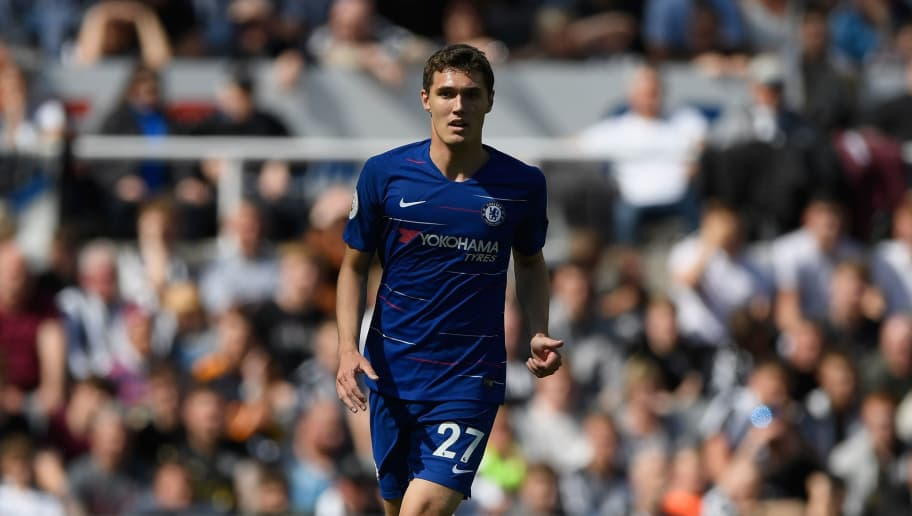 NEWCASTLE UPON TYNE, ENGLAND - MAY 13:  Chelsea player Andreas Christensen in action during the Premier League match between Newcastle United and Chelsea at St. James Park on May 13, 2018 in Newcastle upon Tyne, England.  (Photo by Stu Forster/Getty Images)