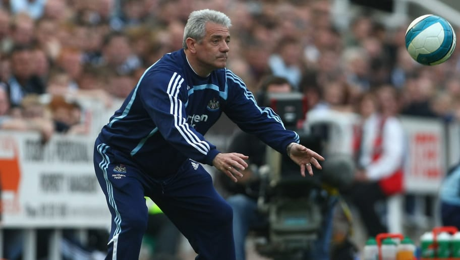 NEWCASTLE, UNITED KINGDOM - MAY 05:   Newcastle United Manager Kevin Keegan tosses the ball back during the Barclays Premier League match between Newcastle United and Chelsea at St James' Park on May 5, 2008 in Newcastle, England.  (Photo by Clive Rose/Getty Images)