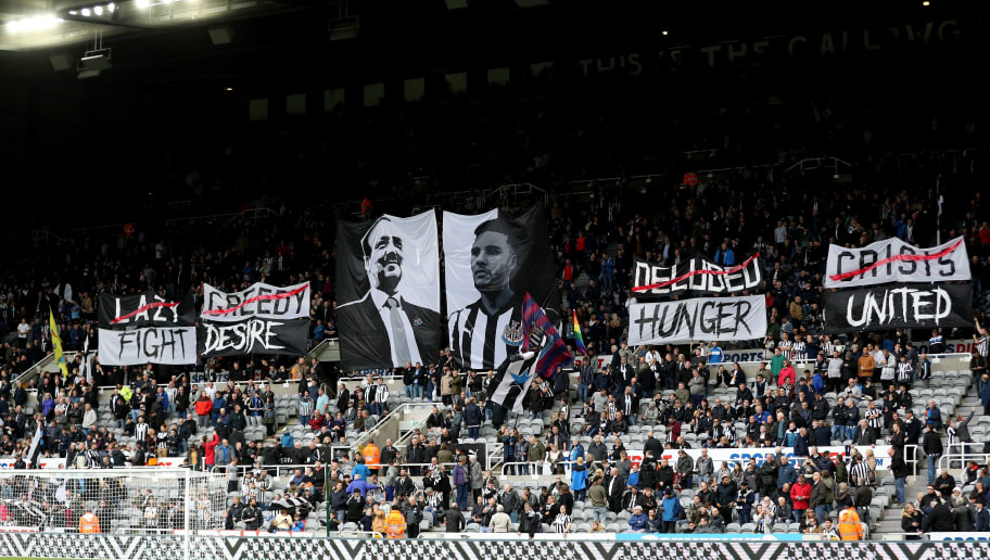 NEWCASTLE UPON TYNE, ENGLAND - OCTOBER 21:  Fans display banners and flags prior prior to the Premier League match between Newcastle United and Crystal Palace at St. James Park on October 21, 2017 in Newcastle upon Tyne, England.  (Photo by Ian MacNicol/Getty Images)