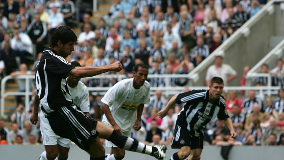 NEWCASTLE-UPON-TYNE, UNITED KINGDOM - JULY 29:  Albert Luque of Newcastle United scores the opening goal from the penalty spot during a pre-season friendly between Newcastle United and Juventus at St James' Park on July 29, 2007 in Newcastle-upon-Tyne, England.  (Photo by Alex Livesey/Getty Images)