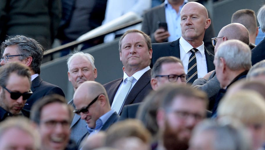 NEWCASTLE UPON TYNE, ENGLAND - SEPTEMBER 29:  Mike Ashley, owner of Newcastle United looks o during the Premier League match between Newcastle United and Leicester City at St. James Park on September 29, 2018 in Newcastle upon Tyne, United Kingdom.  (Photo by Mark Runnacles/Getty Images)