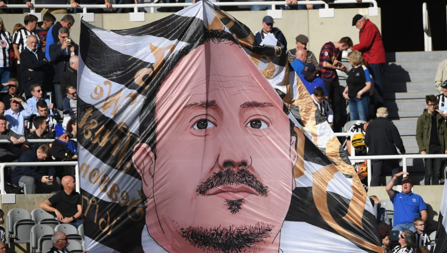 NEWCASTLE UPON TYNE, ENGLAND - SEPTEMBER 29:  A flag of Newcastle manager Rafa Benitez is unfurled in the Leazes end during the Premier League match between Newcastle United and Leicester City at St. James Park on September 29, 2018 in Newcastle upon Tyne, United Kingdom.  (Photo by Stu Forster/Getty Images)