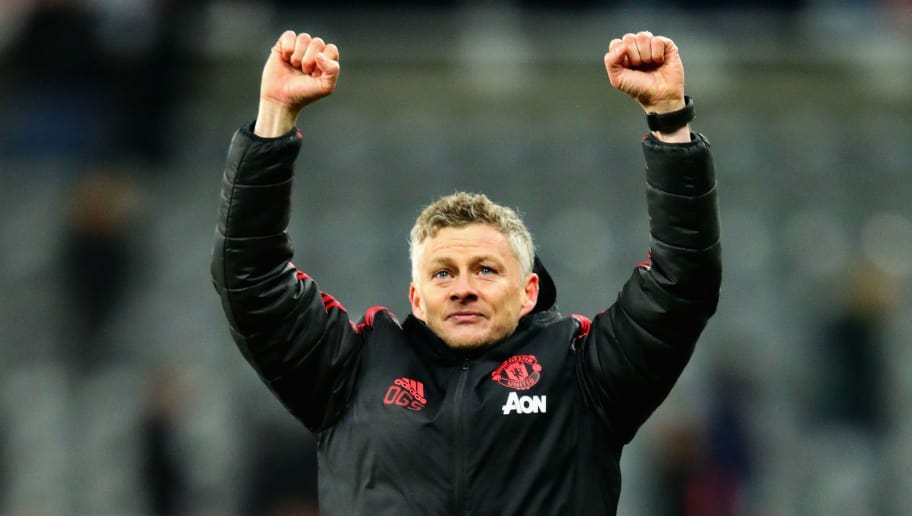 NEWCASTLE UPON TYNE, ENGLAND - JANUARY 02:  Manager of Manchester United Ole Gunnar Solskjaer celebrates with the fans after the Premier League match between Newcastle United and Manchester United at St. James Park on January 2, 2019 in Newcastle upon Tyne, United Kingdom.  (Photo by Chris Brunskill/Fantasista/Getty Images)