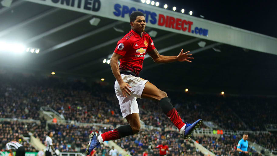 NEWCASTLE UPON TYNE, ENGLAND - JANUARY 02: Marcus Rashford of Manchester United celebrates scoring his side's second goal during the Premier League match between Newcastle United and Manchester United at St. James Park on January 2, 2019 in Newcastle upon Tyne, United Kingdom. (Photo by Chris Brunskill/Fantasista/Getty Images)
