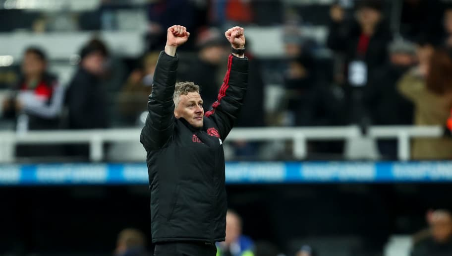 NEWCASTLE UPON TYNE, ENGLAND - JANUARY 02: Ole Gunnar Solskjaer the head coach / manager of Manchester United celebrates at full time during the Premier League match between Newcastle United and Manchester United at St. James Park on January 2, 2019 in Newcastle upon Tyne, United Kingdom. (Photo by Robbie Jay Barratt - AMA/Getty Images)