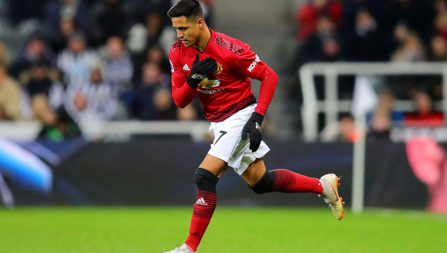 NEWCASTLE UPON TYNE, ENGLAND - JANUARY 02: Alexis Sanchez of Manchester United enters the field as a substitute during the Premier League match between Newcastle United and Manchester United at St. James Park on January 2, 2019 in Newcastle upon Tyne, United Kingdom. (Photo by Chris Brunskill/Fantasista/Getty Images)