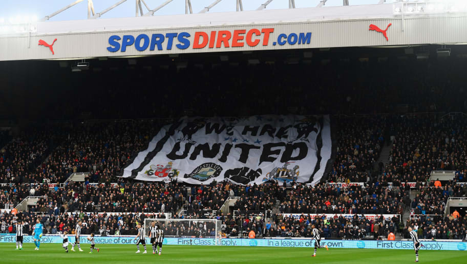 NEWCASTLE UPON TYNE, ENGLAND - APRIL 24:  A general view inside the stadium as Newcastle fans hold a banner prior to during the Sky Bet Championship match between Newcastle United and Preston North End at St James' Park on April 24, 2017 in Newcastle upon Tyne, England.  (Photo by Stu Forster/Getty Images)