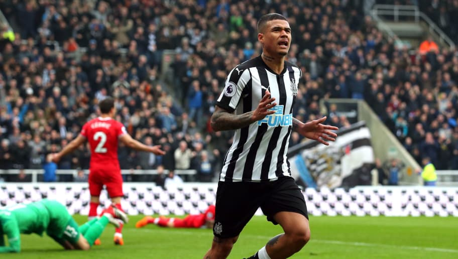 NEWCASTLE UPON TYNE, ENGLAND - MARCH 10:  Kenedy of Newcastle United celebrates after scoring his sides second goal during the Premier League match between Newcastle United and Southampton at St. James Park on March 10, 2018 in Newcastle upon Tyne, England.  (Photo by Alex Livesey/Getty Images)