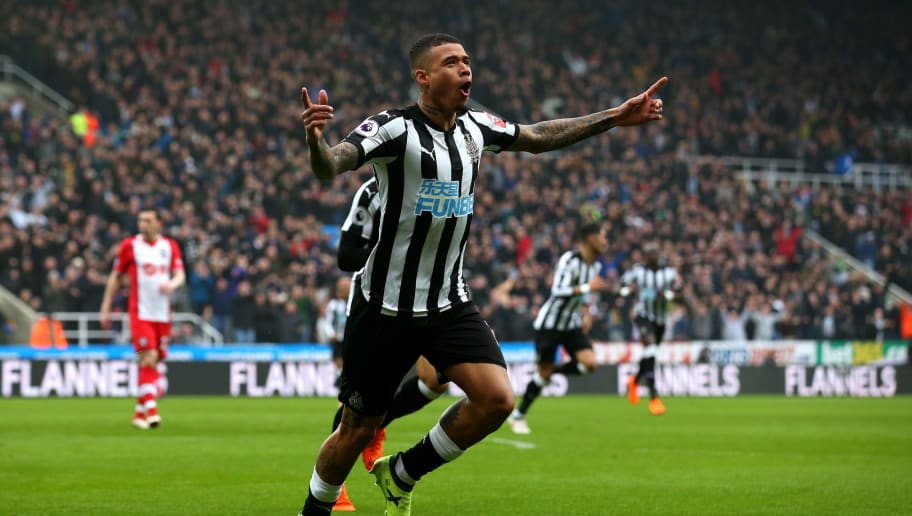 NEWCASTLE UPON TYNE, ENGLAND - MARCH 10:  Kenedy of Newcastle United celebrates after scoring his sides first goal during the Premier League match between Newcastle United and Southampton at St. James Park on March 10, 2018 in Newcastle upon Tyne, England.  (Photo by Alex Livesey/Getty Images)