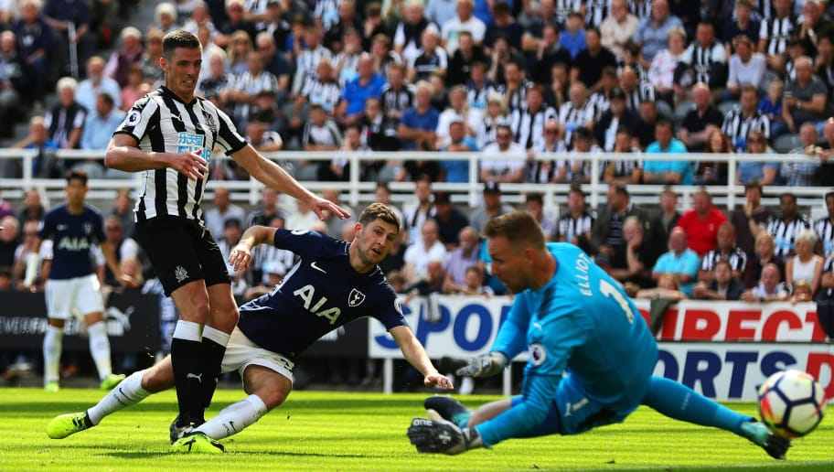 NEWCASTLE UPON TYNE, ENGLAND - AUGUST 13: Ben Davies of Tottenham Hotspur scores his side's second goal during the Premier League match between Newcastle United and Tottenham Hotspur at St. James Park on August 13, 2017 in Newcastle upon Tyne, England. (Photo by Chris Brunskill Ltd/Getty Images)