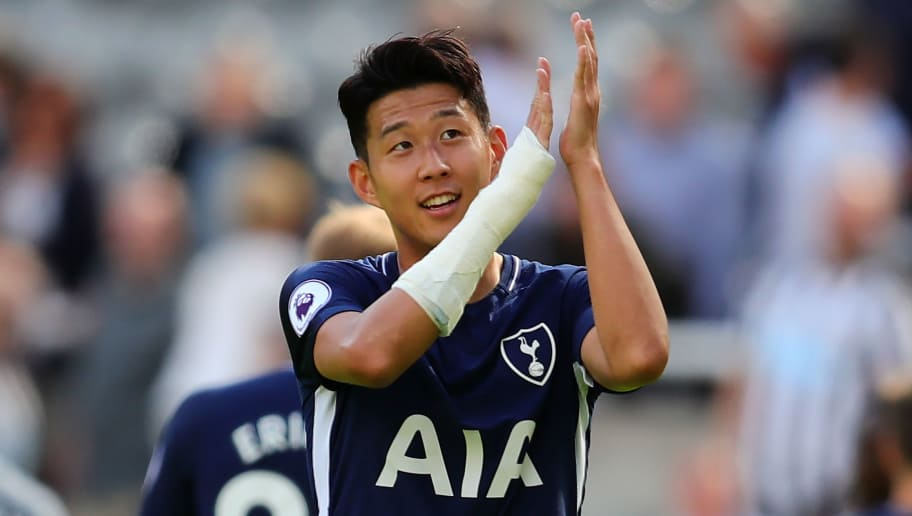 NEWCASTLE UPON TYNE, ENGLAND - AUGUST 13:  Son Heung-Min of Tottenham Hotspur applauds the fans at the end of  the Premier League match between Newcastle United and Tottenham Hotspur at St. James' Park on August 13, 2017 in Newcastle upon Tyne, England.  (Photo by Chris Brunskill Ltd/Getty Images)