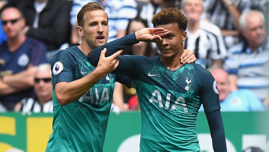 NEWCASTLE UPON TYNE, ENGLAND - AUGUST 11:  Dele Alli of Tottenham Hotspur celebrates scoring their second goal with Harry Kane of Tottenham Hotspur during the Premier League match between Newcastle United and Tottenham Hotspur at St. James Park on August 11, 2018 in Newcastle upon Tyne, United Kingdom.  (Photo by Tony Marshall/Getty Images)