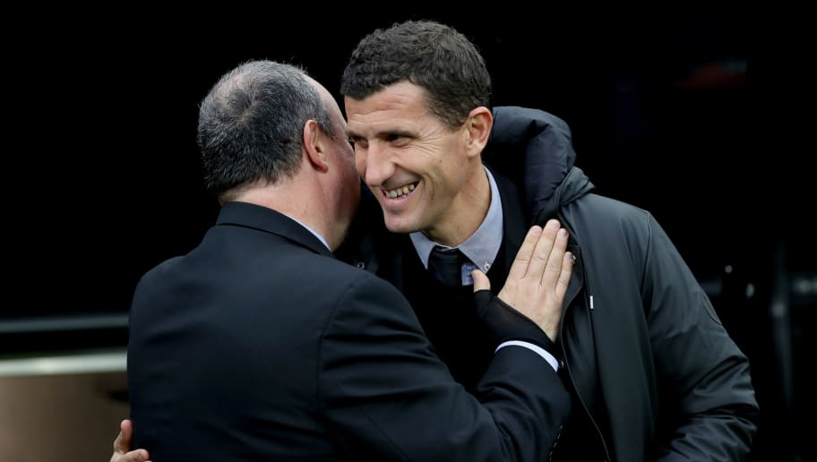 NEWCASTLE UPON TYNE, ENGLAND - NOVEMBER 03:  Rafael Benitez, Manager of Newcastle United embraces Javi Gracia, Manager of Watford ahead of the Premier League match between Newcastle United and Watford FC at St. James Park on November 3, 2018 in Newcastle upon Tyne, United Kingdom.  (Photo by Ian MacNicol/Getty Images)