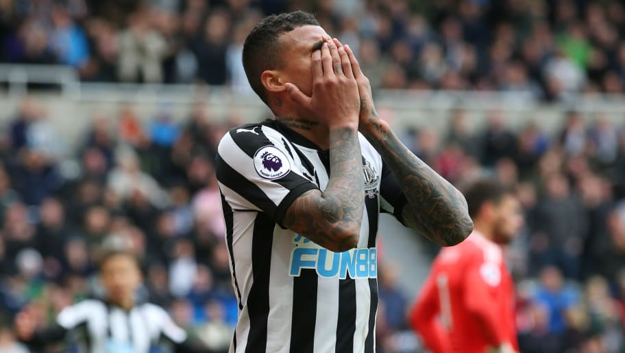 NEWCASTLE UPON TYNE, ENGLAND - APRIL 28:  Kenedy of Newcastle United reacts during the Premier League match between Newcastle United and West Bromwich Albion at St. James Park on April 28, 2018 in Newcastle upon Tyne, England.  (Photo by Alex Livesey/Getty Images)