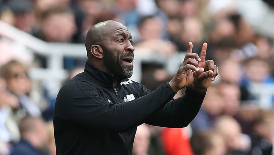 NEWCASTLE UPON TYNE, ENGLAND - APRIL 28:  West Bromwich Albion manager Darren Moore is seen during the Premier League match between Newcastle United and West Bromwich Albion at St. James Park on April 28, 2018 in Newcastle upon Tyne, England. (Photo by Ian MacNicol/Getty Images)