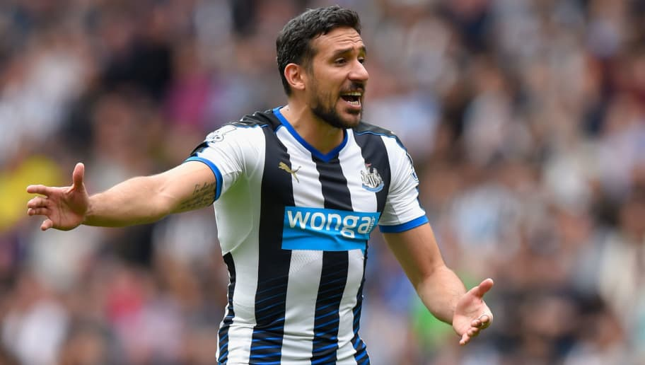 NEWCASTLE UPON TYNE, ENGLAND - MAY 24:  Newcastle player Jonas Gutierrez reacts during the Barclays Premier League match between Newcastle United and West Ham United at St James' Park on May 24, 2015 in Newcastle upon Tyne, England.  (Photo by Stu Forster/Getty Images)