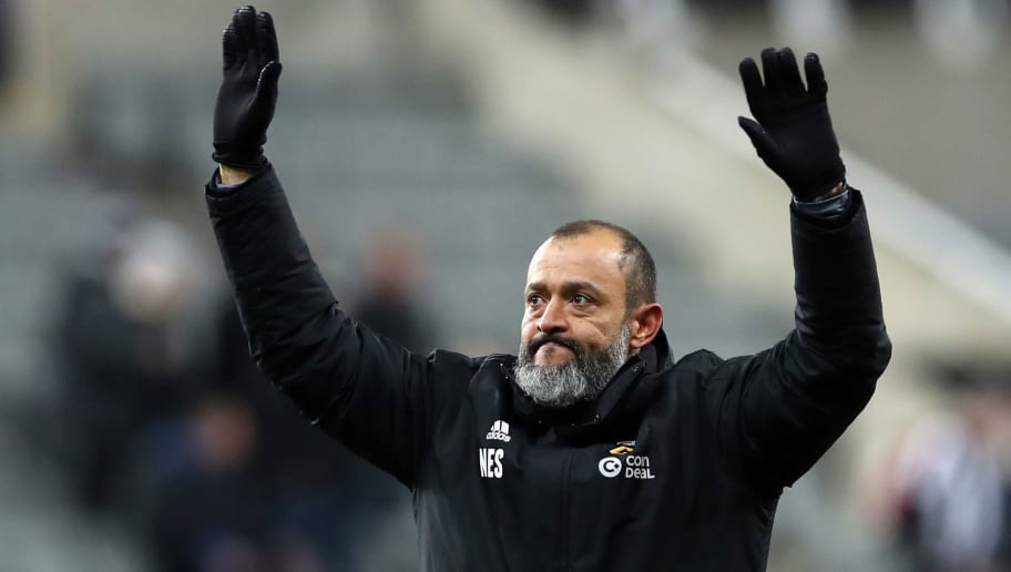NEWCASTLE UPON TYNE, ENGLAND - DECEMBER 09:  Nuno Espirito Santo, Manager of Wolverhampton Wanderers celebrates victory after the Premier League match between Newcastle United and Wolverhampton Wanderers at St. James Park on December 9, 2018 in Newcastle upon Tyne, United Kingdom.  (Photo by Ian MacNicol/Getty Images)