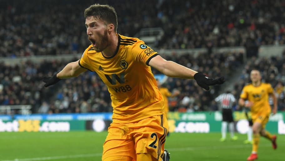 NEWCASTLE UPON TYNE, ENGLAND - DECEMBER 09:  Wolves player Matt Doherty celebrates the winning goal during the Premier League match between Newcastle United and Wolverhampton Wanderers at St. James Park on December 9, 2018 in Newcastle upon Tyne, United Kingdom.  (Photo by Stu Forster/Getty Images)