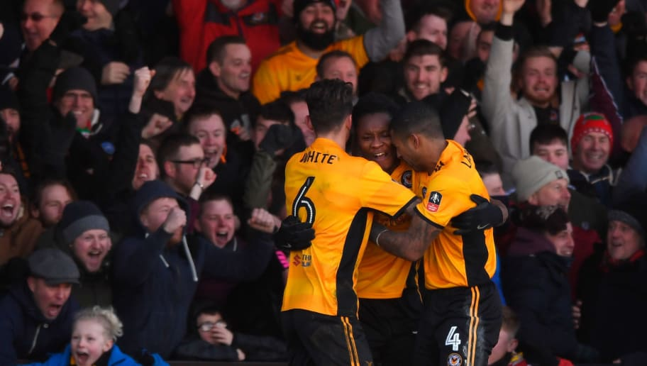 NEWPORT, WALES - JANUARY 07:  Newport County player Shawn McCoulsky (c) celebrates his winning goal with fans and team mates during The Emirates FA Cup Third Round match between Newport County and Leeds United at Rodney Parade on January 7, 2018 in Newport, Wales.  (Photo by Stu Forster/Getty Images)