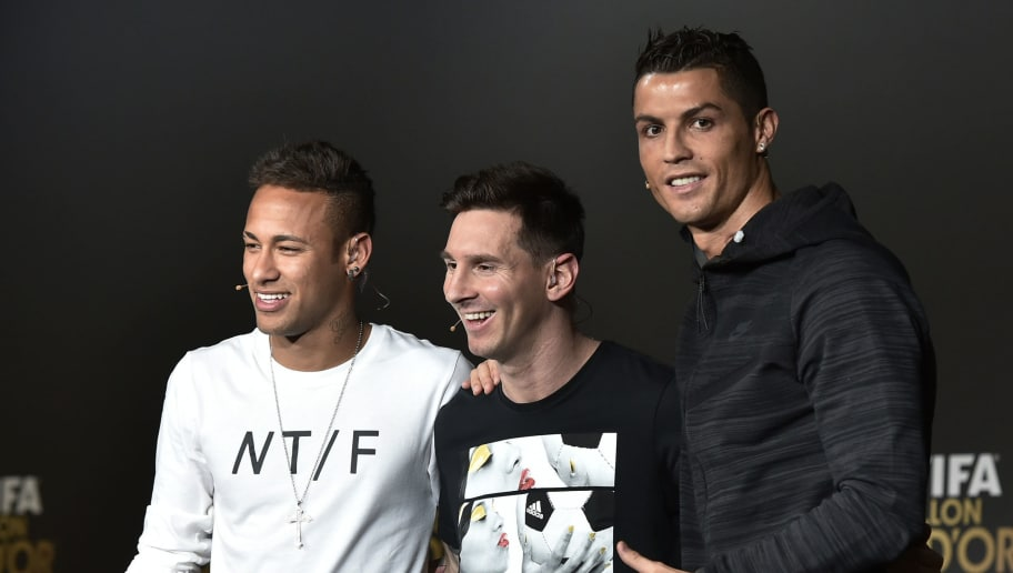 (From L) FC Barcelona and Brazils forward Neymar, FC Barcelona and Argentina's forward Lionel Messi and Real Madrid and Portugal's forward Cristiano Ronaldo pose after a press conference ahead of the 2015 FIFA Ballon d'Or award ceremony at the Kongresshaus in Zurich on January 11, 2016. AFP PHOTO / FABRICE COFFRINI / AFP / FABRICE COFFRINI        (Photo credit should read FABRICE COFFRINI/AFP/Getty Images)