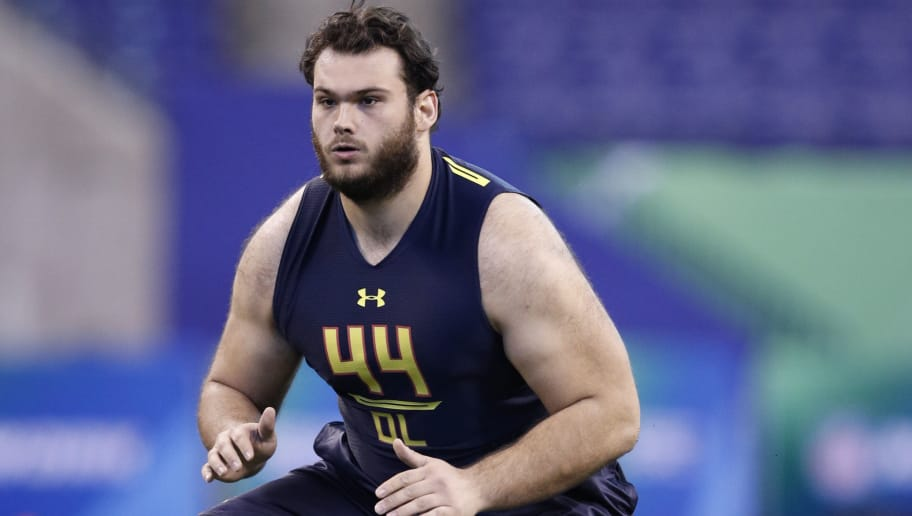 INDIANAPOLIS, IN - MARCH 03: Offensive lineman Nate Theaker of Wayne State in action during the NFL Combine at Lucas Oil Stadium on March 3, 2017 in Indianapolis, Indiana. (Photo by Joe Robbins/Getty Images)