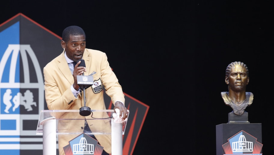 CANTON, OH - AUGUST 04: Randy Moss speaks during the 2018 NFL Hall of Fame Enshrinement Ceremony at Tom Benson Hall of Fame Stadium on August 4, 2018 in Canton, Ohio. (Photo by Joe Robbins/Getty Images)