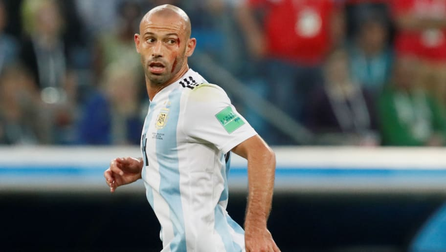 SAINT PETERSBURG, RUSSIA - JUNE 26: Javier Mascherano of Argentina national team during the 2018 FIFA World Cup Russia group D match between Nigeria and Argentina at Saint Petersburg Stadium on June 26, 2018 in Saint Petersburg, Russia. (Photo by MB Media/Getty Images)