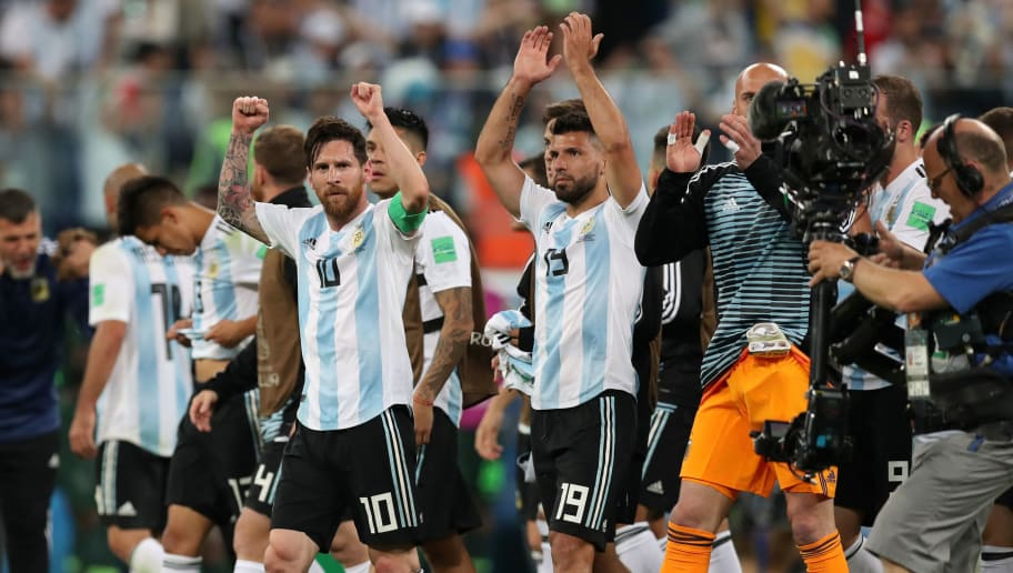 SAINT PETERSBURG, RUSSIA - JUNE 26:  Lionel Messi and Serigo Aguero of Argentina celebrates following the 2018 FIFA World Cup Russia group D match between Nigeria and Argentina at Saint Petersburg Stadium on June 26, 2018 in Saint Petersburg, Russia.  (Photo by Alex Morton/Getty Images)