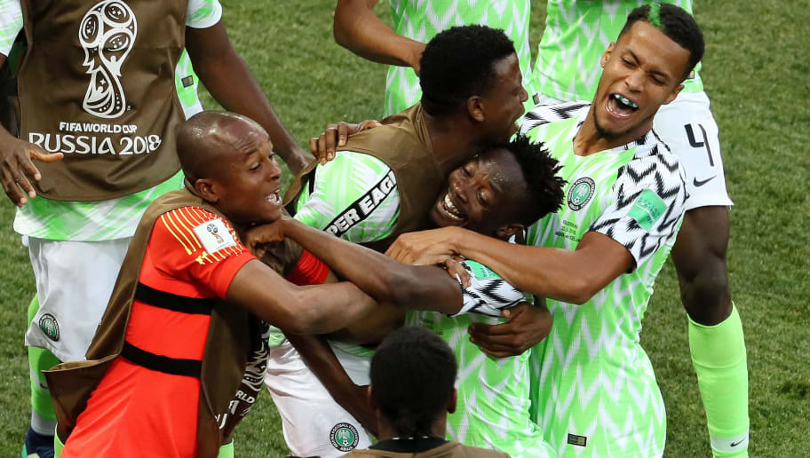 VOLGOGRAD, RUSSIA - JUNE 22:  Ahmed Musa of Nigeria celebrates with team mates after scoring his team's first goal during the 2018 FIFA World Cup Russia group D match between Nigeria and Iceland at Volgograd Arena on June 22, 2018 in Volgograd, Russia.  (Photo by Kevin C. Cox/Getty Images)