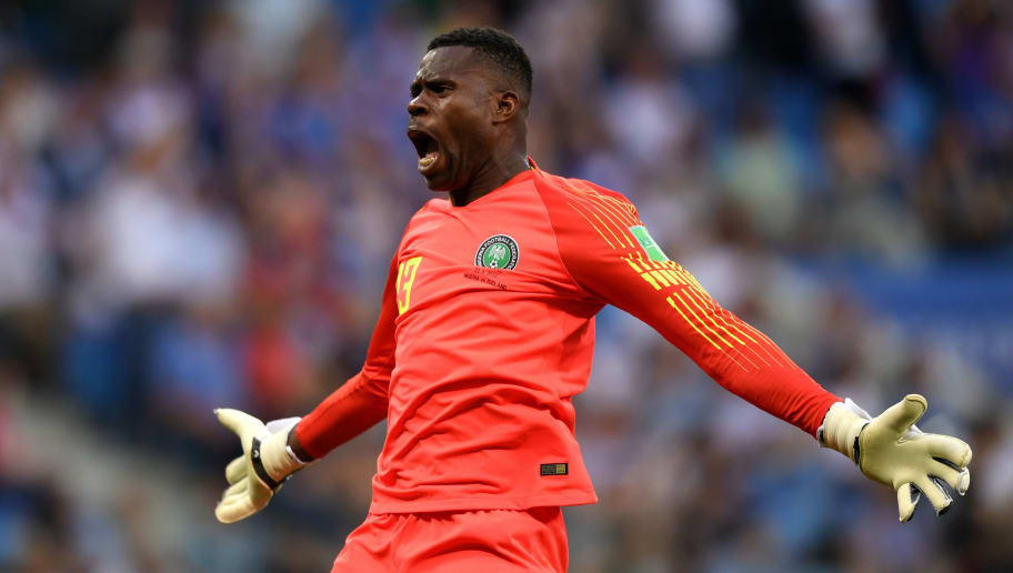 VOLGOGRAD, RUSSIA - JUNE 22:  Francis Uzoho of Nigeria celebrates after his team's second goal during the 2018 FIFA World Cup Russia group D match between Nigeria and Iceland at Volgograd Arena on June 22, 2018 in Volgograd, Russia.  (Photo by Shaun Botterill/Getty Images)