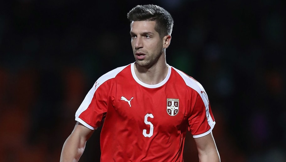 BARNET, ENGLAND - MARCH 27:  Matija Nastasic of Serbia in action during the International Friendly match between Nigeria and Serbia at The Hive on March 27, 2018 in Barnet, England.  (Photo by Matthew Lewis/Getty Images)